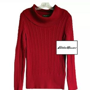 Eddie Bauer cable knit cowl neck sweater.